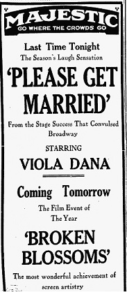 vintage ad for Please Get Married starring Viola Dana