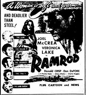 Ramrod film starring Veronica Lake and Joel McCrea