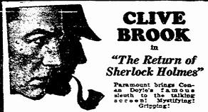 The Return of Sherlock Holmes film starring Clive Brook