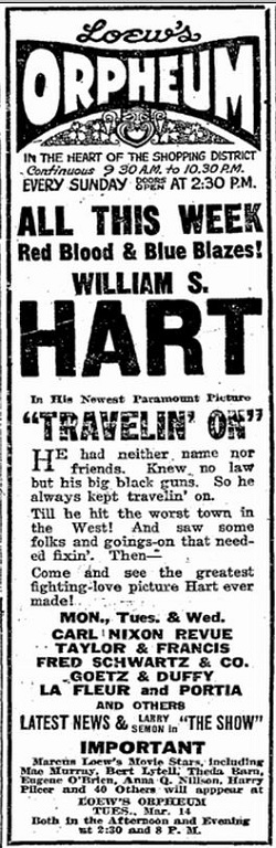 Travelin' On film 1922 starring William S. Hart