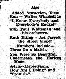 Music numbers from I Know Everybody and Everybody's Racket 1933