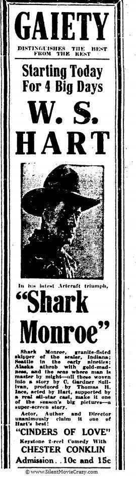 Shark Monroe starring William S. Hart