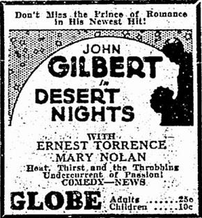 film review Desert Nights starring John Gilbert