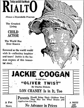 film review Jackie Coogan as Oliver Twist