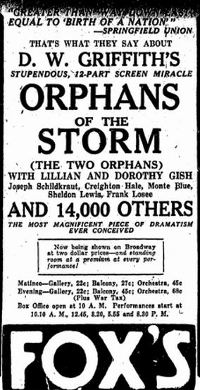 film review Orphans of the Storm starring the Gish sisters