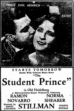 film review The Student Prince of Old Heidelberg starring Ramon Novarro