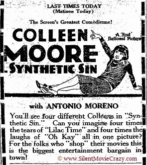 film review Colleen Moore in Synthetic Sin