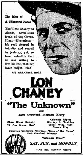 film review The Unknown starring Lon Chaney
